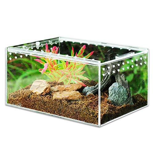 MABELER Magnetic Acrylic Reptile Cage 4'x3.2'x2.4' Nano Enclosure Transparent Reptile Breeding Box Terrarium Tank Tarantula Scorpion Sling Isopods Lizards Roach Invertebrates Insect Mantis