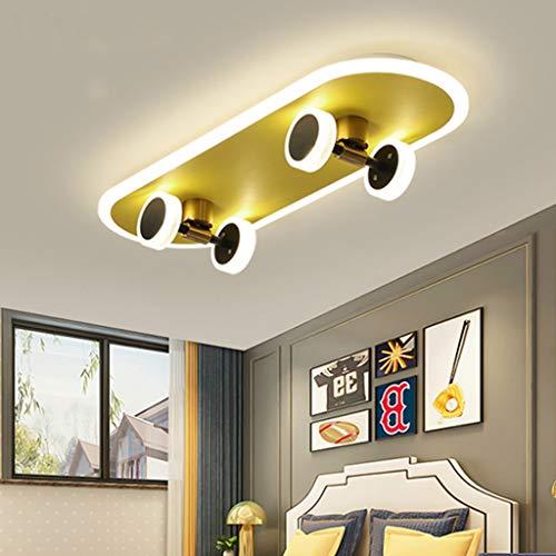 LED Skateboard Deckenleuchte Goldene Kinderzimmer Cartoon Deckenlampe Junge Mädchen Deckenbeleuchtung Modern 32W Acryl Kronleuchter Schlafzimmer Wohnzimmer Kindergarten Beleuchtung Deckenlicht,6500k