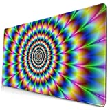 Mouse Pads Mat with Stitched Edges Spiral Trippy Illusion Natural Non-Slip Rubber Mousepad Desk Mat For Office Gamer & Gaming & Home 15.8x29.5 In