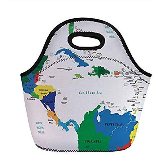 Kaart, Midden-Amerika en de Caribische Eilanden Kaart Landen Steden Namen Regio's Locaties, Multi kleuren, voor Kinderen Volwassen Thermische Tassen