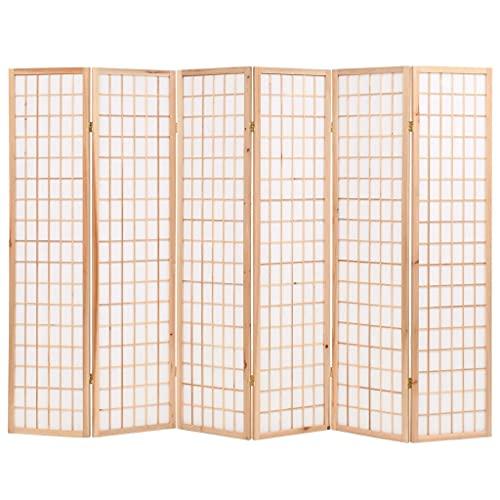 vidaXL Divisor plegable de 6 paneles, estilo japonés, pantalla de privacidad Paravent salón muebles decoración de habitación durable 95 pulgadas natural