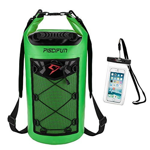 Piscifun Waterproof Dry Bag Backpack 20L Floating Dry Backpack with Waterproof Phone Case for Water Sports - Fishing Boating Kayaking Surfing Rafting Camping Gifts for Men and Women Light Green
