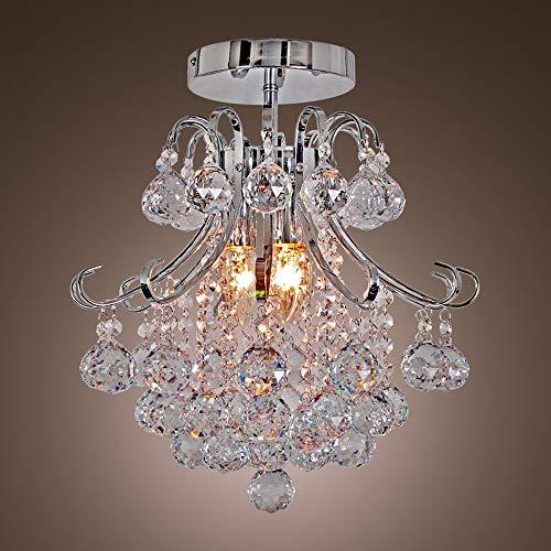 LHTCZZB Luz cristalina de la lámpara LED moderna K9 de la gota de lluvia del accesorio del techo, 3- luz Cristales final del cromo de la lámpara colgante, Romántico Deco lámparas colgantes for la sal