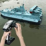 Mopoq RC Boat for Pools and Lakes, 110-240V HG-C201 1/110 Scale 2.4G Remote Control Mini Hovercraft Amphibious Tiny High Speed Electric Racing Boat Toys with Powerful Motor for Kids Adults Boys Girls