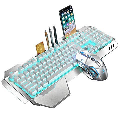 2.4G Juego de teclado y mouse inalámbricos recargables de sensación mecánica , 3000 mAh, teclado de juego impermeable con retroiluminación LED Anti-efecto fantasma + 2400 DPI 6 botones Mouse