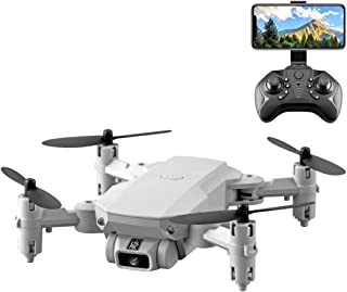 Toys LS-MIN 480P Foldable RC Quadcopter Drone Remote Control Aircraft, Storage Bag Packaging (Black) (Color : Grey White)