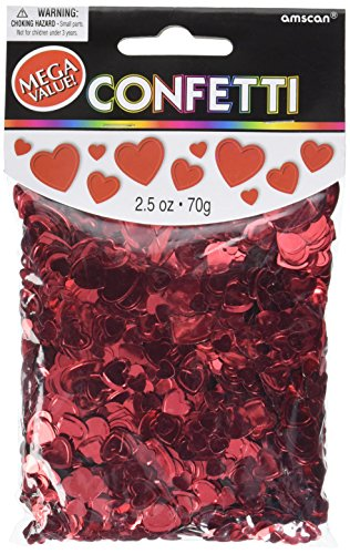 amscan International Confettis cœurs Rouge