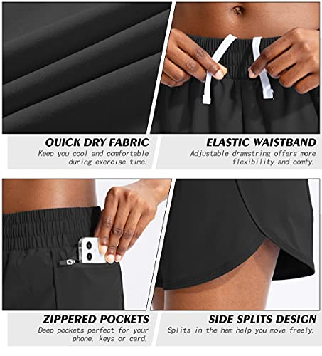 Soothfeel Womens Running Shorts with Phone Pockets High Waisted Athletic Gym Workout Shorts for Women with Liner Black