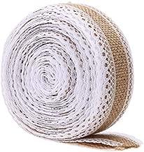 Professional Marriage Decoration 5m Roll Linen Jute Burlap Ribbon with White Lace Trim, Antique Wedding Decorations - Wedding Supplies, Rustic Ribbon, Wedding Runner Aisle, Newlywed Decorations