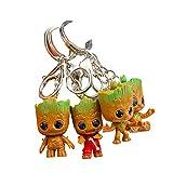 Baby Groot Llavero (Conjunto de 4) - Figura de acción de la película clásica - Perfecto como Regalo - I Am Groot