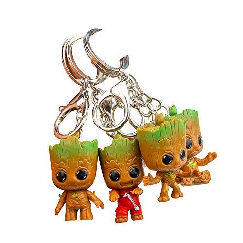 Baby Groot Porte-clés (Lot de 4) - Figurine d'action du Film Classique - Parfait comme Cadeau - Je suis Groot