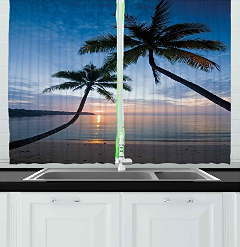 Ambesonne Tropical Kitchen Curtains, Sunset Over The Ocean Calm and Exotic Beach in Kut Island Thailand Summertime Work of Art, Window Drapes 2 Panel Set for Kitchen Cafe Decor, 55