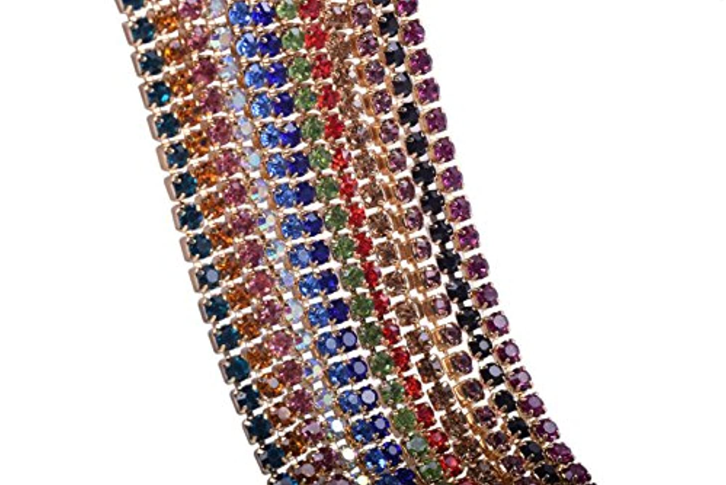 KAOYOO Crystal Rhinestone Close Chain Mixed 12 Colors Each 1 Yard.SS06/2.0mm/0.08