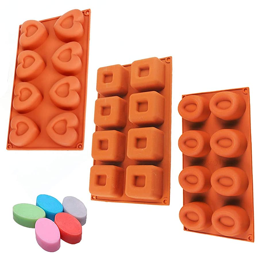 3 Pack,8-Cavity, Medium Shape Silicone Mold for Soap, Cake, Bread, Cupcake, Cheesecake, Cornbread, Muffin, Brownie, and More