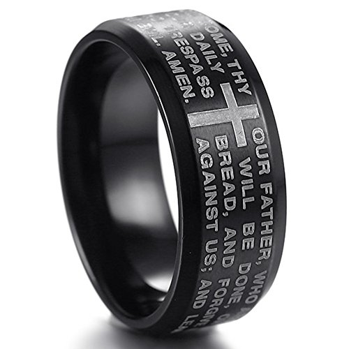 Jude Jewelers Stainless Steel Christian The Lord's Prayer Ring, Matthew 6:9-13 (Black, 12)