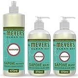 Mrs Meyer's Clean Day - 1 Detersivo Piatti + 2 Sapone Mani - Fragranza Basilico - Prodotti creati con Oli essenziali - 1 x 473 ml + 2 x 370 ml - Set Base