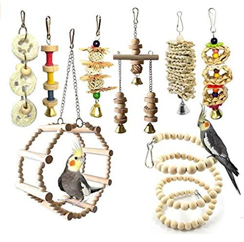 JasCherry 8 Piezas Pájaros Juguetes para Masticar Loros, Colgar Juguetes de Jaula de Loros, Escalera Hamaca de Madera, Columpios, Que cuelga la Perca Juguete para pequeños y medianos Loros de Aves