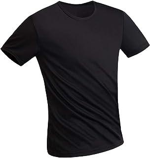 Placextre Men Solid Color Short Sleeve Liquid Resistant Super Hydrophobic Round Neck T-Shirt for Summer