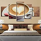 HJIAPO Quadro 5 Pezzi Stampa su Tela Tazza di caffè in Grani Immagini Moderni Murale Fotografia Grafica Decorazione da Parete 150 * 80Cm