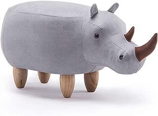 CJH Cartoon Creative Rhino Child Stool Solid Wood Shoes Changing Stool Sofa Stool Changing Shoes Stool (Size : Non Storage Box)
