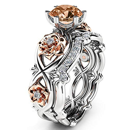 HIRIRI Hot Sale 2020 New Women Diamond Silver & Rose Gold Filed Silver Wedding Engagement Floral Ring Set (8, Multicolor) 14k Gold Golf Bag
