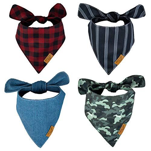 Remy+Roo Dog Bandanas - 4 Pack   Timeless Set   Premium Durable Fabric   Unique Shape   Adjustable Fit   (Large)