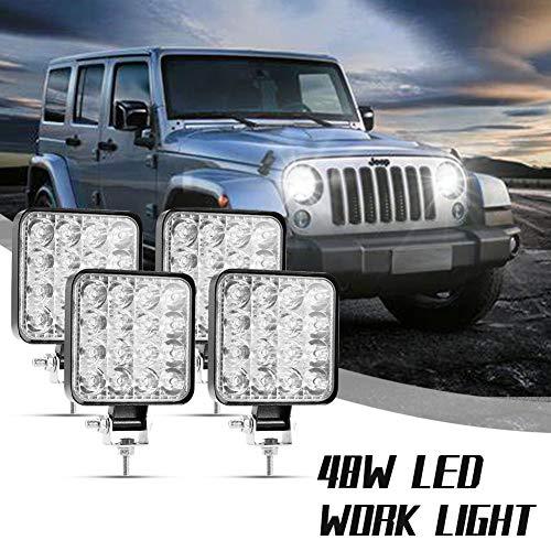 Viugreum 48W Faros Led Tractor, Faro Trabajo LED Focos de Coche Square (Blanco frío 6500k) 12-24V D4mini IP67 Impermeable, Off-road Foco de Trabajo LED para ATV SUV MotoTractor(4 piezas)