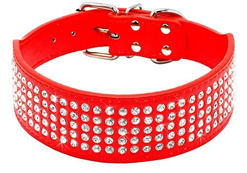 Elegel Hundehalsband Leder Breit große kleine mittelgroße Hunde Schwarz Rot Rosa Pink mit Strass und Anti-verlorene Handynummern Anhänger
