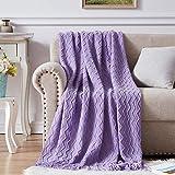 NexHome Throw Blanket for Bed Purple Decorative Knit Blanket with Tassel Soft Lightweight Zigzag Textured Boho Throws (50'x60' Violet Purple)