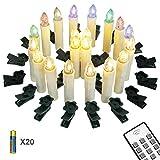 Yorbay 20er kabellose LED Kerzen Weihnachtsdeko IP64 wasserdicht RGB&Warmweiß mit