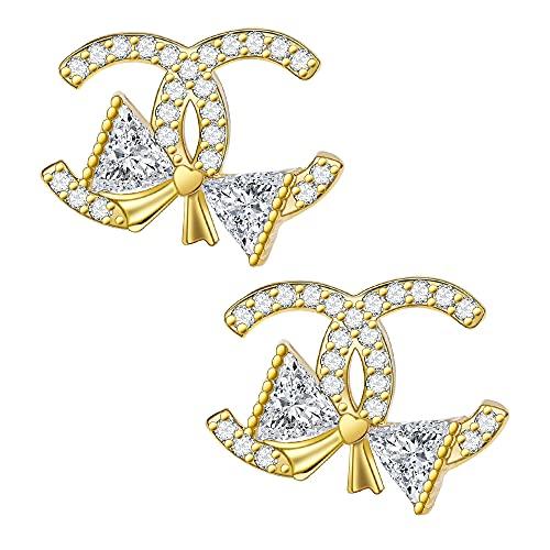 Pendientes de mujer de plata 925 con forma de corazón, pendientes de cristal, pendientes hipoalergénicos, regalo para mujeres, amigas, plata, oro, oro rosa,