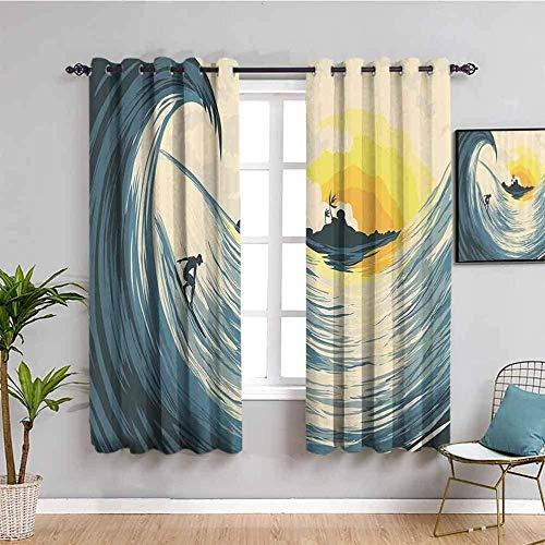 ZLYYH Cortinas Infantiles Dibujos animados puesta de sol surf paisaje 132x214cm Cortinas Opacas Resistente al Calor y La Luz para Salón Dormitorio Cortina Gruesa y Suave para Oficina Moderna Decorativ