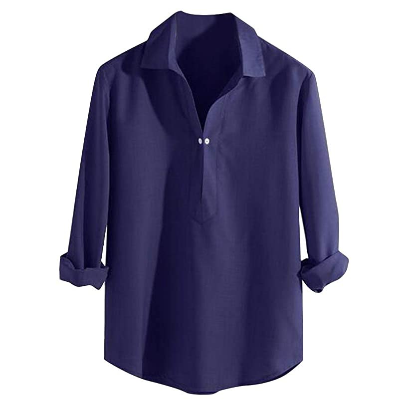TUSANG Men Tees Summer Fashion Pure Long Sleeve Top Comfortable Blouse Top Loose Fit Comfy Tunic