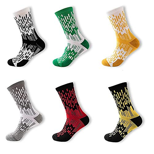 Basketball Socks Mens Outdoor Soccer Sports Performance Athletic Scoks Mid-Calf Boy 6 Pairs RLP