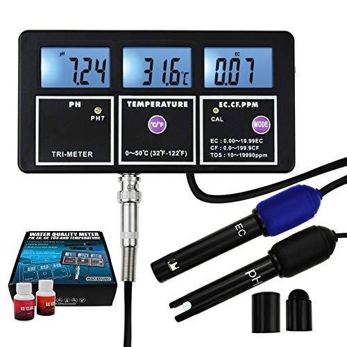 5-in-1 Water Quality Multi-parameter PH EC CF TDS (ppm) Temperature Test Meter Backlight,...