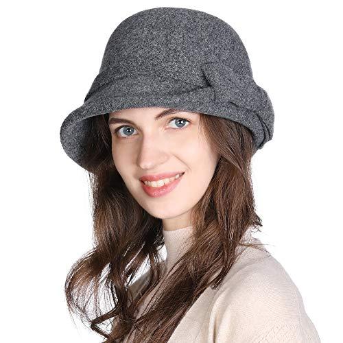 Fancet Sombrero de fieltro de lana para mujer, estilo vintage de los años 20