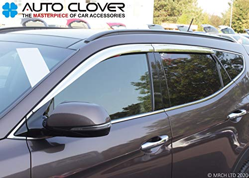 Autoclover Windabweiser-Set für Hyundai Santa Fe 2013–2018, Chrom, 4 Stück