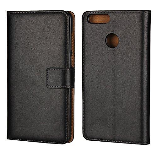 Copmob Huawei Honor 7X Hülle,Klassisch Flip Brieftasche Ledertasche Handyhülle,[Multi-Kartenslot][Standfunktion][Magnetverschluss],Schutzhülle Handyhülle für Huawei Honor 7X - Schwarz