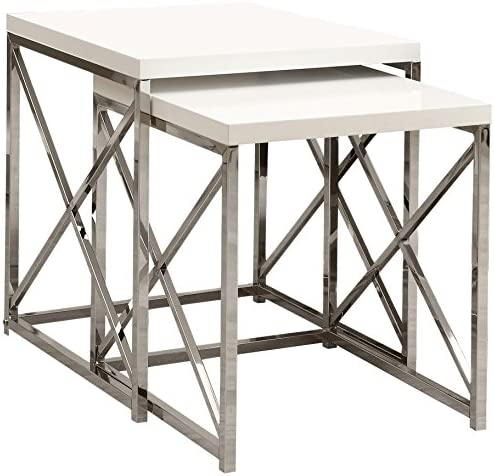 Best Monarch Specialties , Nesting Table, Chrome Metal, Glossy White, Table Set, 2 pcs