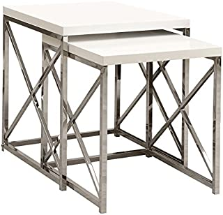 Monarch Specialties I 3025, Nesting Table, Chrome Metal, Glossy White, Table Set, 2 pcs