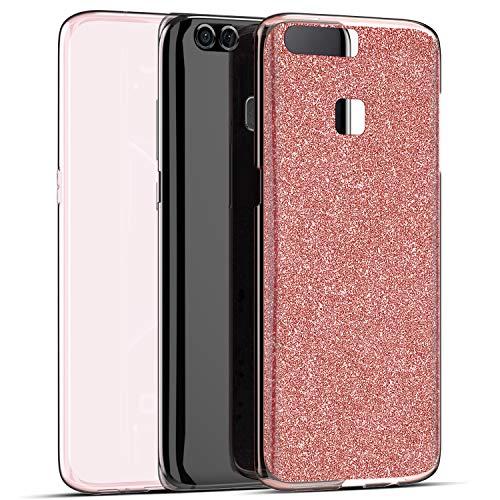 wanhonghui Jinghuash Glitter 360° Funda Compatible con Huawei P9,Delantera Trasera Protectora Movil Silicona Carcasa,Glitter Brillante Brillo Ultra-Fina Transparente Cubierta Goma Bumper Case