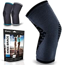 POWERLIX Knee Compression Sleeve | Knee Brace for Men & Women | Helps with Knee Pain | Knee Support for Running, Basketball, Weightlifting, Gym, Working out, Sports - Please check sizing chart
