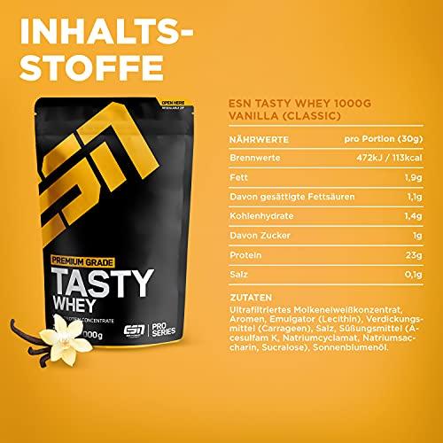 ESN Tasty Whey, Pro Series, Vanilla, 1er Pack (1 x 1000g Beutel) - 4