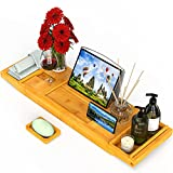 Bamboo Bathtub Caddy Expandable Tub Tray Bath Table Organizer with Book Stand Tablet Holder Wine Glass Slot and Soap Holder for Luxury Spa Bathroom, Adjustable Bath Tray by Pipishell