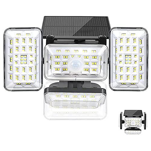 La Càmb Muse Luces de Sensor de Movimiento Luz Solar al Aire Libre 4 Cabezales 242 LED Luces Solares de Pared IP65 Iluminación de Seguridad Impermeable