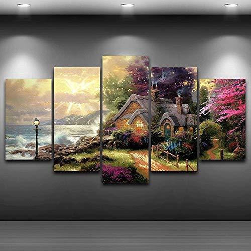 """Sungup Leinwand Wandkunst Modulares Bild Modern für Wohnzimmer Dekor 5 Panel Seashore Cottage Gemälde HD-Druck Kein Rahmen 15,7\""""x23.6 (40x60cm) × 215.7\""""x31.4 (40x80cm) × 215.7\""""x33.4 (40x100cm) × 1"""