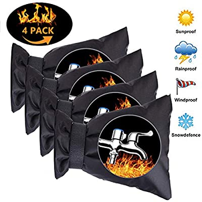 """LCHUANG Outdoor Faucet Cover Winter Socks - Pipe Insulation Freeze Protection,Reusable Waterproof Insulated Spigot backflow Cover,Anti-Freeze Hose Bib 5.9"""" W x 7.7"""" H, Black, Set of 4"""