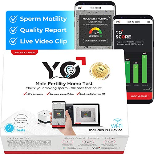 YO Home Sperm Test for Apple iPhone, Android, MAC and Windows PCs | Includes 2 Tests | Men's at Home Fertility Test | Check Moving Sperm and Record Videos