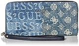 GUESS womens Wallet, Wristlet, Zip Around, wallet wristlet clutch, Denim, One Size US
