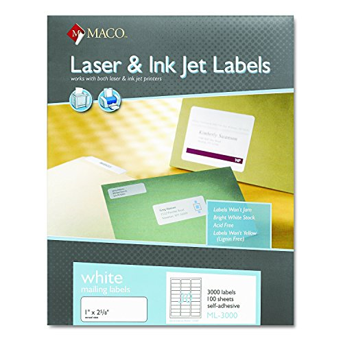 Maco Laser/Ink Jet White Address Labels, 1 x 2-5/8 Inches, 100 Sheets, 3000 Per Box (ML-3000)